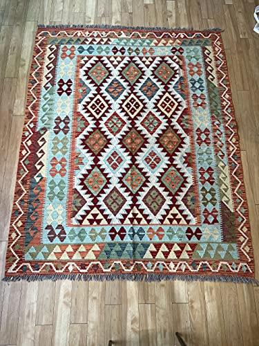 Alfombra oriental afgana, hecha a mano, de lana, colores naturales, estilo afgano, turco, nómada persa, tradicional, 158 x 194 cm, estilo vintage, pasillo y escalera reversible
