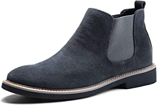 Xiang Ye Chelsea Boots for Men Ankle Boot Round Toe Slip On Synthetic Leather Lightweight Cozy Breathabl Handmade Suture Anti Slip (Color : Gray, Size : 8 UK)