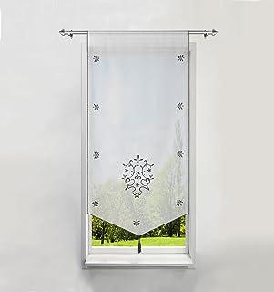 BAILEY JO 1Pièce Rideau Voilage Brise-bise en Polyester Broderie Fleurs avec Pompon Rideaux Courts Décoration de Fenêtre C...