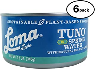 Loma Linda Tuno - Plant-Based - Spring Water (12 oz.) (Pack of 6) - Non-GMO, Ocean Safe, Omega 3, Seafood Alternative