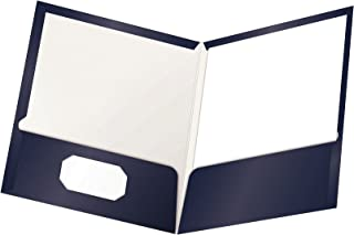 Oxford Laminated Twin-Pocket Folders, Letter Size, Navy, Holds 100 Sheets, Box of 25 (51743)