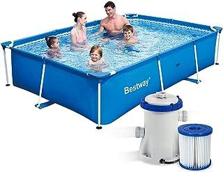 7in1Set Splash Frame Pool 259x 170x 61cm Bestway 56403con bomba de filtro 1249l/hora y accesorios