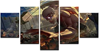 AIXYX 5 Pcs Canvas Attack on Titan Painting for Living Room Wall Art Decor Mikasa Armor Giant Picture Modern Artwork Animation Poster-20x35cmx2,20x45cmx2,20x55cmx1