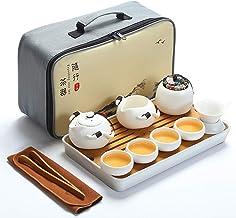 fanquare Portable Travel Tea Set,Handmade Kungfu Tea Set,Porcelain Teapot,Teacups,Bamboo Tea Tray with a Portable Travel B...