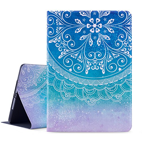 Dopup iPad 9.7 Case 2018/2017 iPad Case, Premium Leather Folio Case Cover for Apple iPad 9.7 inch, Multiple Viewing Angles Stand, Also Fits iPad Air 2/ iPad Air (Blue Mandala)