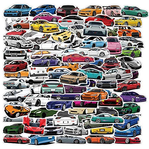 100PCS JDM Race Car Stickers,Water Bottles Laptop Phone Stickers Aesthetic Trendy Decals for Teens
