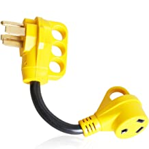 Epicord Heavy Duty RV Adapter 50 AMP Male To 30 AMP Female Dogbone Power Cord With Handles Connector, 12Inch, Yellow