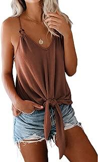 Women's T-Shirt, Camisole, Slim Short Slim V-Neck Top, Bow Hem Casual Wear,a,XL
