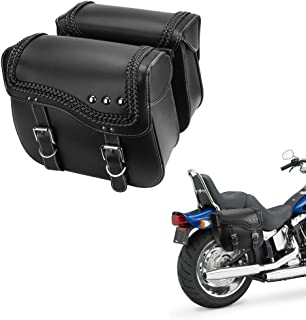 Motorcycle Saddlebags, Synthetic Leather Side Bags for Sportster Softail Dyna Yamaha Honda