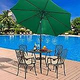 KANGNING 3M Garden Patio Parasol Sun Shade Paraguas con Mecanismo de manivela e inclinación Balcón al Aire Libre Beige Parasol al Aire Libre Well