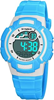 Watch Fashion Children's Watch 9578 Shi Nuo Ke Personality Waterproof Male and Female Students Electric Watch, Fashion Watch (Color : Blue)