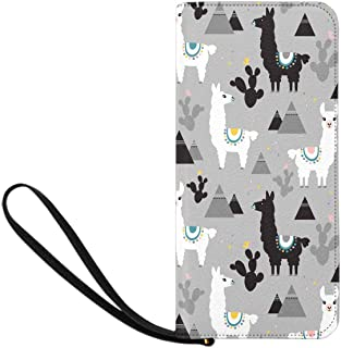 INTERESTPRINT Llama, Cactus and Mountains Zip Around Wallet Clutch Wristlet Travel Long Purse for Women