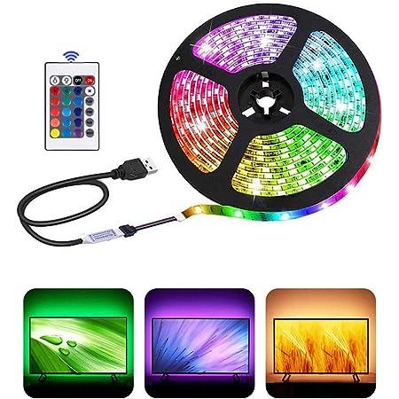Bande lumineuse LED USB avec télécommande 24 touches, 5050 RGB, 5 V, sans danger et tactile, DIY intérieur/extérieur (2 m).