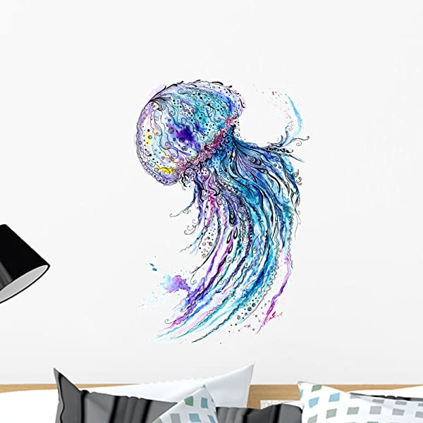Wallmonkeys FOT 79879676 24 WM52243 Jelly Fish Watercolor And Ink Painting Peel And Stick Wall Decals 24 In H X 17 In W Medium