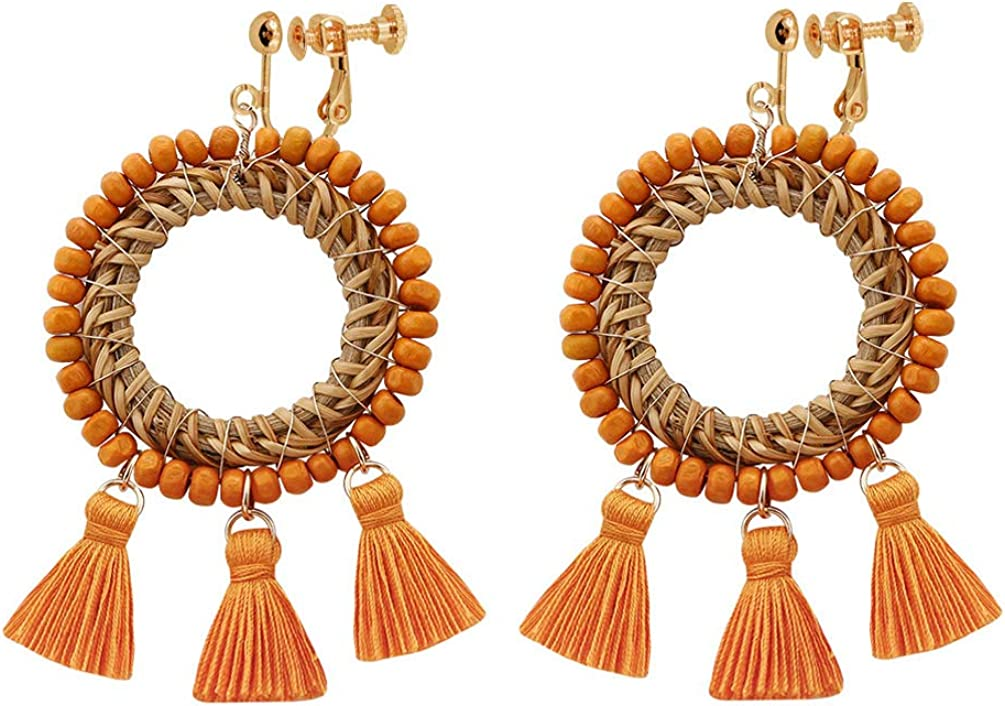 Clip on Earrings non Pierced Dangle Circle Handmade Rattan Women Bohemian Tassel Thread Wood Beads
