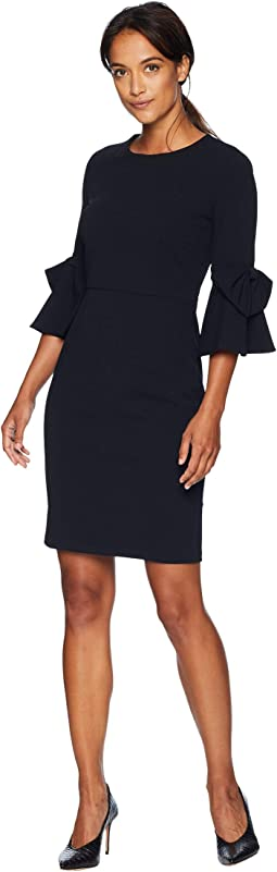 3/4 Bell Sleeve Crepe Shift Dress w/ Bow Detail at Wrist