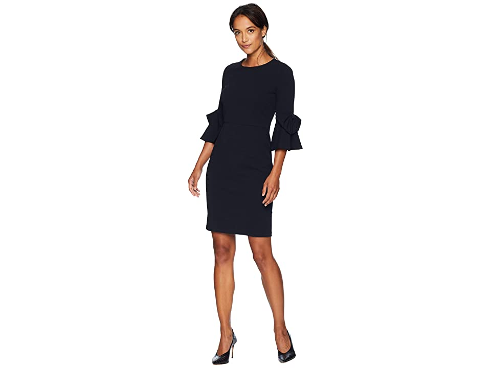 Donna Morgan 3/4 Bell Sleeve Crepe Shift Dress w/ Bow Detail at Wrist (Marine Navy) Women