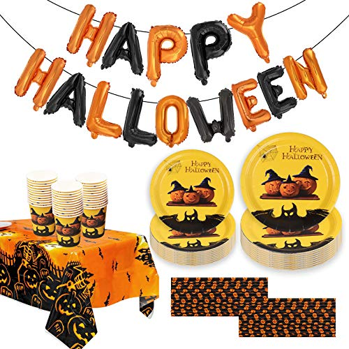 Larchio 98pcs Halloween Party Tableware Set with Halloween Plates and Cups Straws Set, 1 Halloween Party Tablecloth and Happy Halloween Foil Banner for Halloween Party Decorations