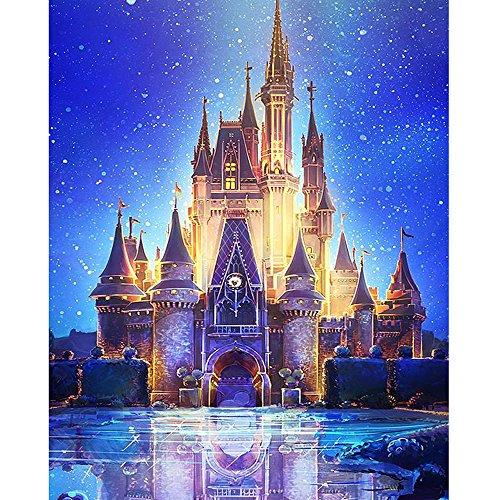 DIY 5D Diamond Painting Kits for Adults, Granmp Full Drill Crystal Rhinestone Painting Kit Diamond Cross Stitch Paint by Number Kits Rhinestone Embroidery for Home Wall Decoration Castle, 11.8'x17.7'