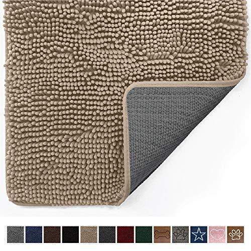 Gorilla Grip Original Indoor Durable Chenille Doormat, 60x36, Absorbent Machine Washable Inside Mats, Low-Profile Rug Doormats for Entry, Mud Room Mat, Back Door, High Traffic Areas, Beige