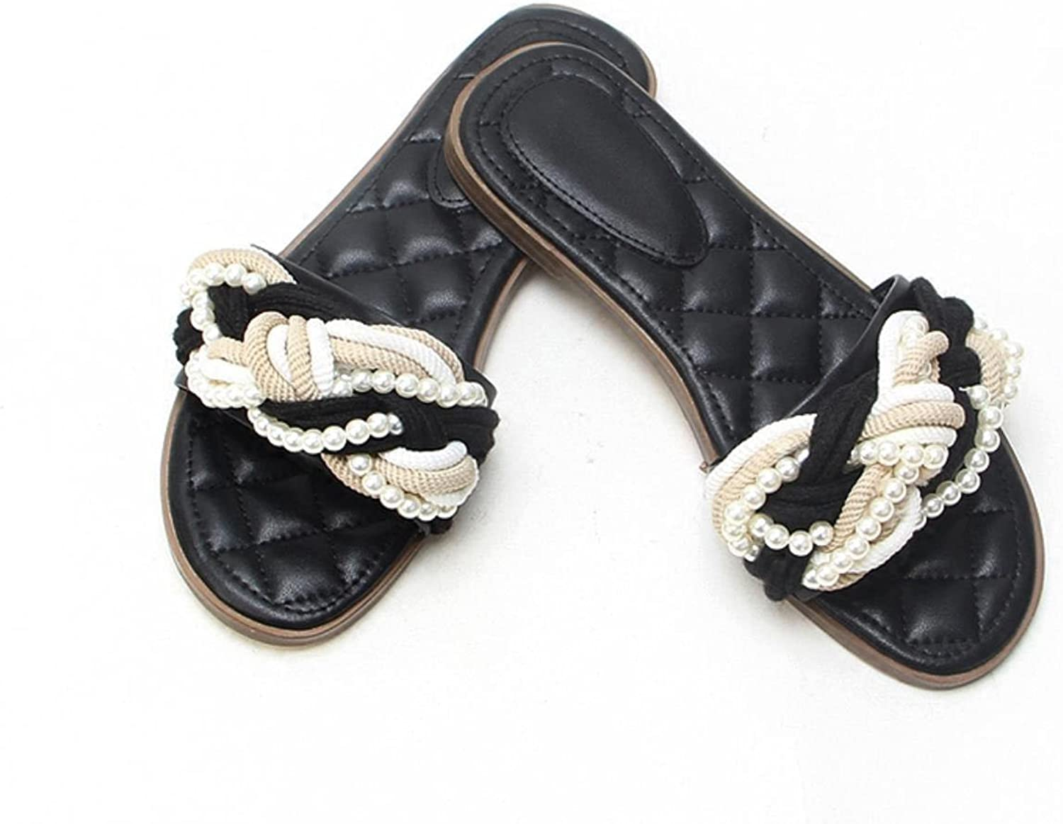 Female small fragrance pearl slippers black Lingge word cool slippers beach flat shoes