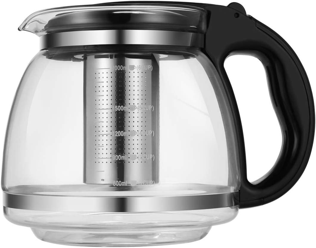 para cocina segura hervidor para t/é de hojas sueltas Hemoton Tetera de cristal con infusor extra/íble de acero inoxidable negro