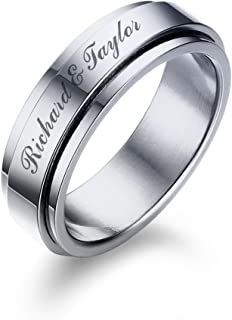 Mealguet Jewelry Personalized Stainless Steel Spinner Ring Band for Men Boy Custom Engraving Your Name Message Date Ring for Daily