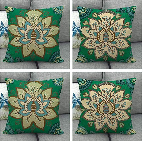 JgZATOA Retro Green Flower Pillow Covers Pillow Case Cover Cushion Home Bedroom Sofa Cushion Cover Decor 45 X 45Cm Set Of 4