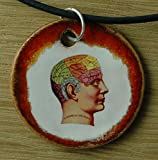 Echtes Kunsthandwerk: Schöner Keramik Anhänger: Kopf; Gehirn, Vermessung, Gehirnareal, Medizin, Uni, Studium, Medizin, nostalgisch, alt, drugs