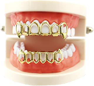Teeth Grillz, Alonea Hip Hop Teeth Grillz Top And Bottom Mouth Teeth Grills Fashion Removable 1Pair (Gold ❤️)