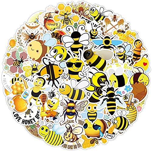 YOUYOU Dibujos animados lindo abeja animal etiqueta DIY refrigerador guitarra portátil clásico broma etiqueta engomada niños juguete regalo 50 unids