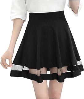 Geilisungren Basic Versatile Elastico A-line Svasato Casual Mini Skater Skirt See Through Pizzo Patchwork Gonne corte