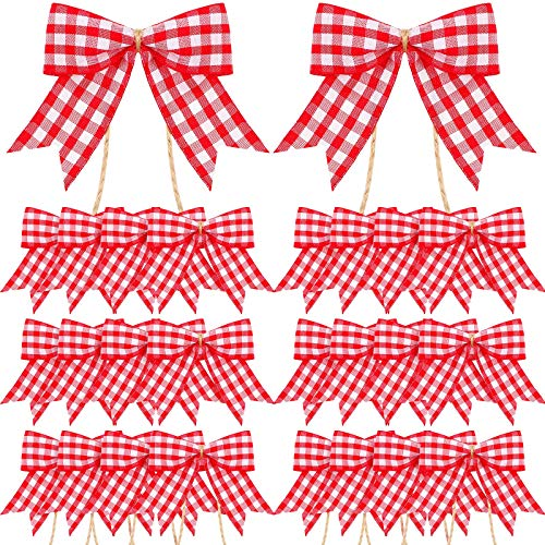 24 Pieces Plaid Bows Christmas Plaid Bows Small Buffalo Plaid Decorative Bows for Christmas Decoration Supplies (Red and White)