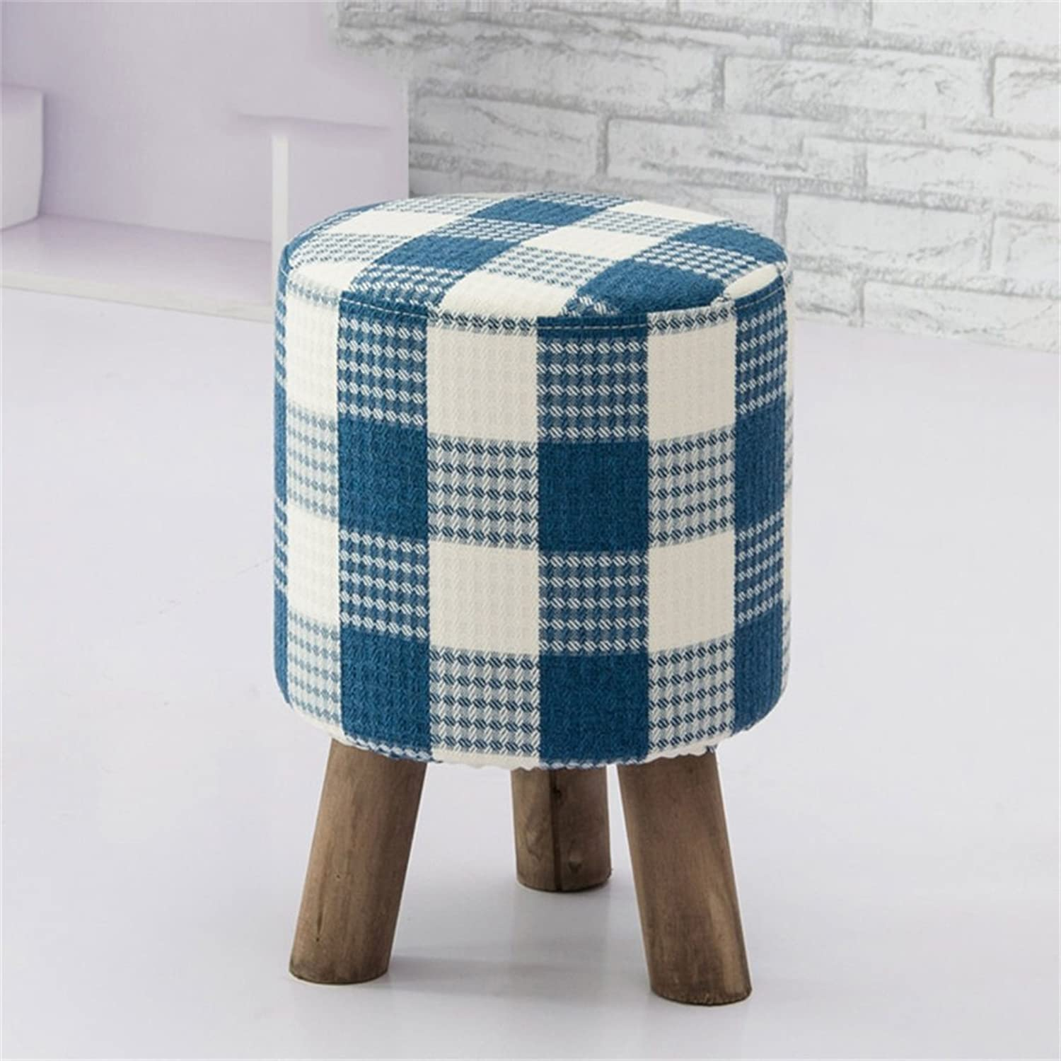 AIDELAI Bar Stool Chair- Solid Wood Change shoes Stool Footstool Test shoes Stool Round Upholstered Footstools 3 4 Wood Leg Pouffes Stool Fabric Cover Saddle Seat (color     2)