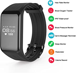 TUFEN Fitness Tracker Heart Rate Monitor & Blood Pressure Saturation Armband/Heart Rate Monitor Activity Tracker/Pedometer/Steps Counter/Calories Track/Smart Notification Bluetooth Bracelet (Black)