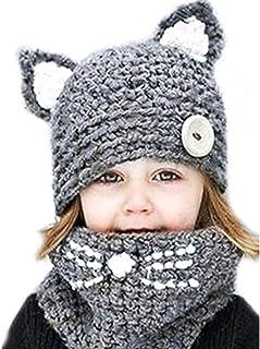 Sombrero de punto c/álido para ni/ños Gorro con orejas Cuello Bufanda de punto con capucha una pieza para ni/ñas ni/ños de 4-8 a/ños
