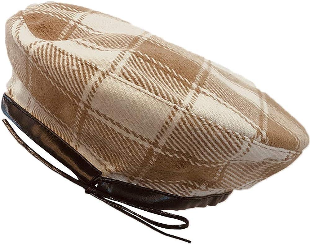 YAKEFJ Women's Plaid Cotton Beret Cap French Classic Autumn Winter Hat Leather Sweatband