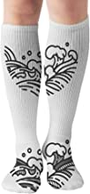 Water Wave Line Template Japanese Thai The Arts Signs Symbols Compression Socks Women & Men - Best For Running,Medical,Athletic Sports,Flight Travel, Pregnancy,19.68 Inch
