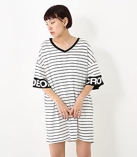 [ロデオクラウンズ ワイドボウル] ワンピース ドレス 袖ロゴ Vネック ワンピース 420BSS93-0900