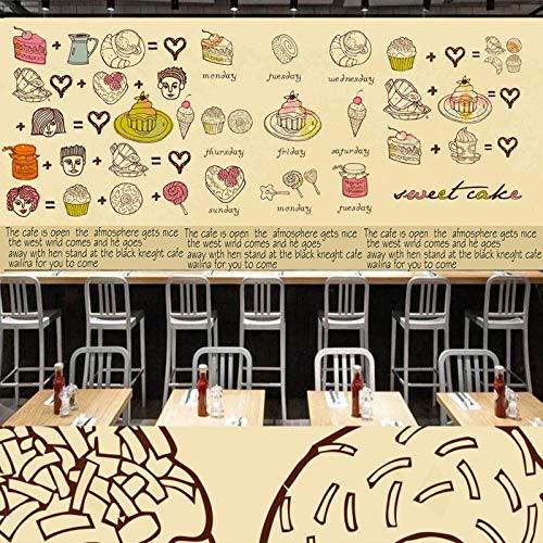 Tv Achtergrond Fotobehang Hd Handbeschilderd Behang Europese Stijl Taart Dessert Mural Koffie Shop Gereedschap Achtergrond Muur Bakkerij Behang 200 * 140cm