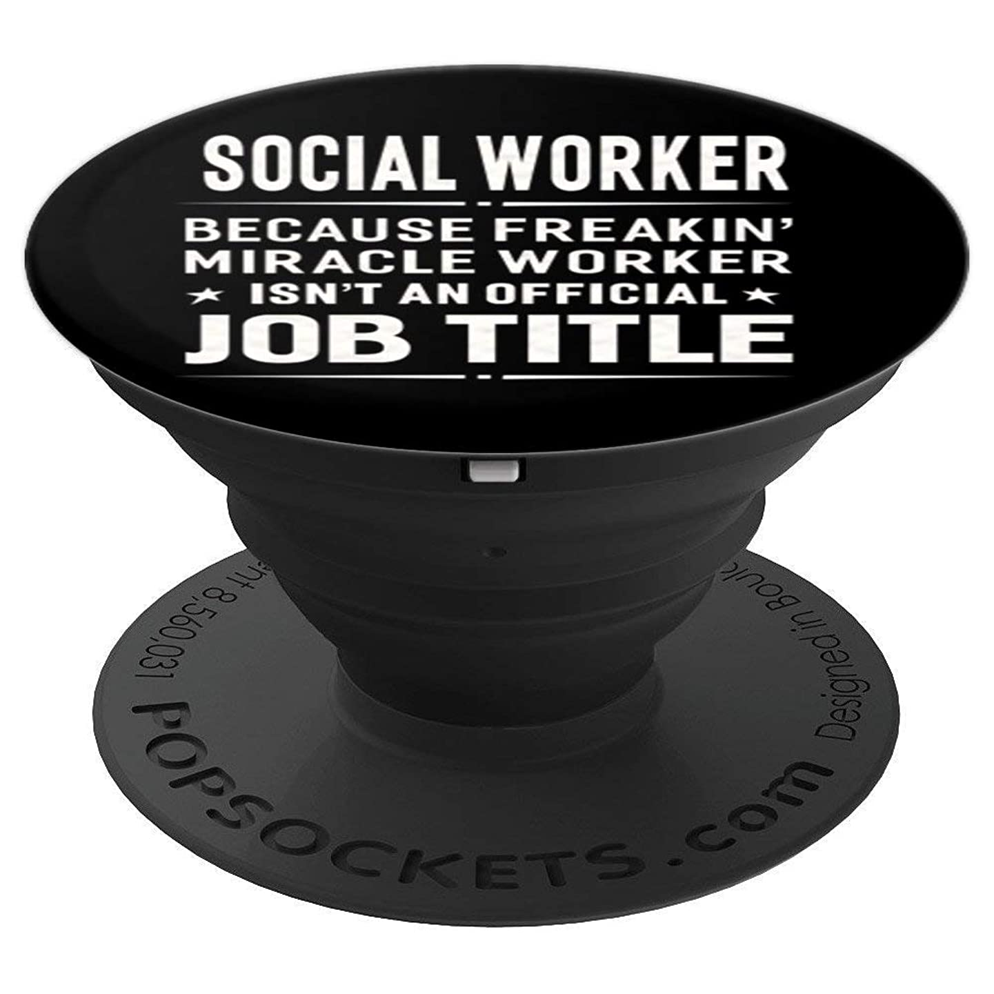Social Worker Miracle Worker Job Title Profession Pop Socket - PopSockets Grip and Stand for Phones and Tablets