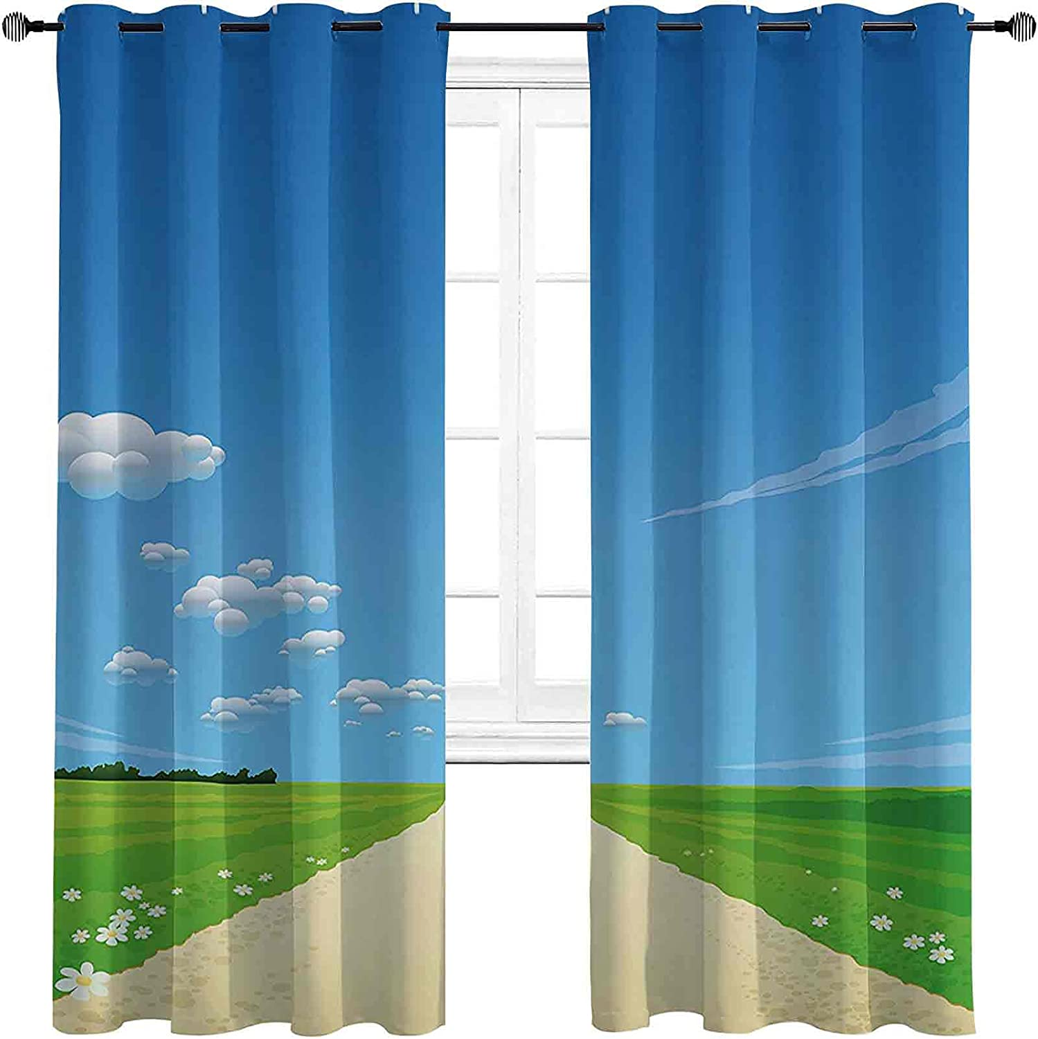 Nature 90%-99% Blackout Genuine Lining Curtain Background Path gift Road wit