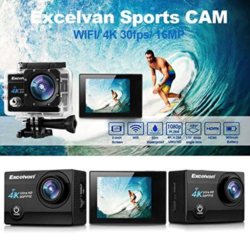 "Excelvan Q8 - 4K WIFI Camara Deportiva de Accion (Gran 2.0"" HD Pantalla, 16Mp, 170º Gran Angular, Impermeable Sumergible hasta 30m, USB HDMI, Multiples Accesorios para Deportes y Actividades), Negro"