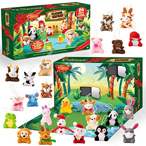 JOYIN 2020 Mini Animal Plush Advent Calendar Christmas 24 Days Countdown Advent Calendar with 24 Animal Plush Toys