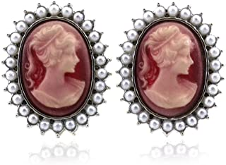 SoulBreezeCollection Cameo Earrings Stud Post White Faux Pearl Fashion Jewelry