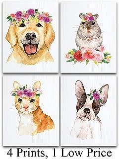 Watercolor Animal Pets Nursery Art Prints - Set of Four Photos (11x14) Unframed - Great Nursery Decor Under $25