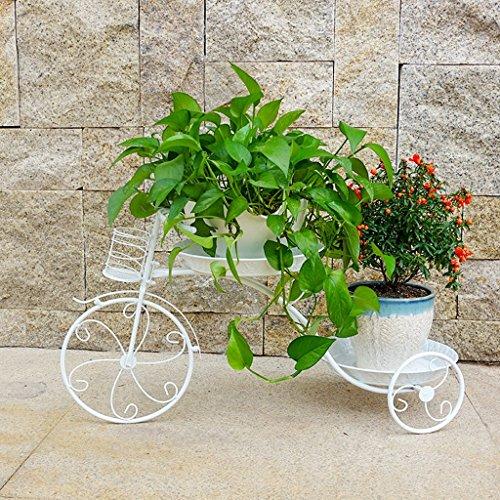 ZWD Creative fer forgé stand de fleur, forme de bicyclette joli motif double couche plante stand bureau chambre salon balcon intérieur noir et blanc Produits