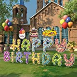 GaraTia Double Sides Happy Birthday Yard Signs with Stakes Includes Balloon,Birthday hat and Colorful Banner Outdoor Lawn Decorations