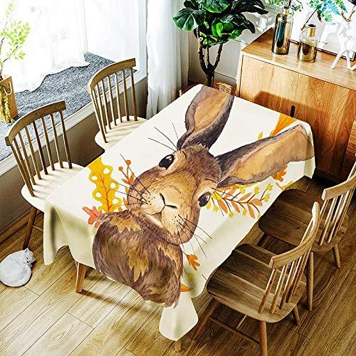 XXDD Mantel Creativo 3D Ciervo Sika y Mantel con Estampado de Flores de Colores cómodo Mantel Impermeable hogar A1 140x160cm