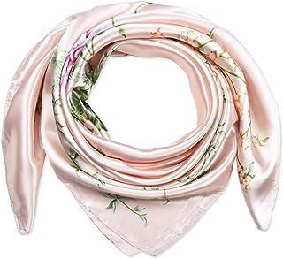 35 بوصة المرأة مربع الحرير يشعر الأوشحة وشاح الرأس للنوم الوردي شاحب